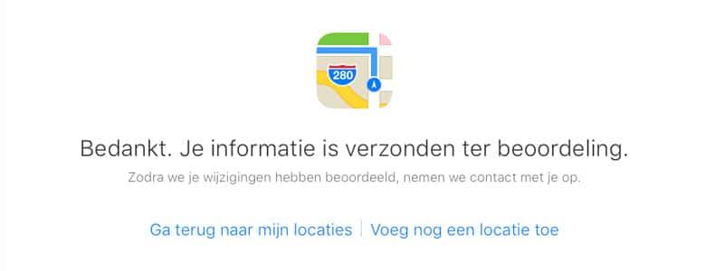 Apple Maps- verzonden